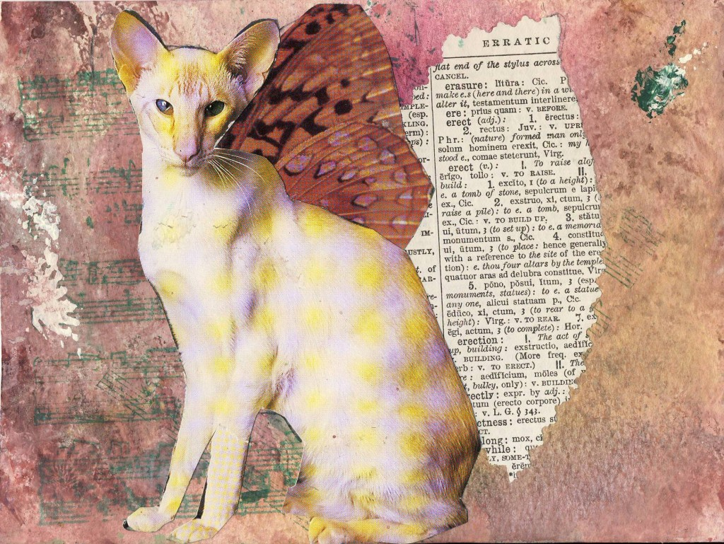 Cat Angel Collage Altered Book Collage