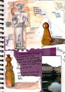 Illustrated journal pages Zurich Park Lindenhof Hill Chess