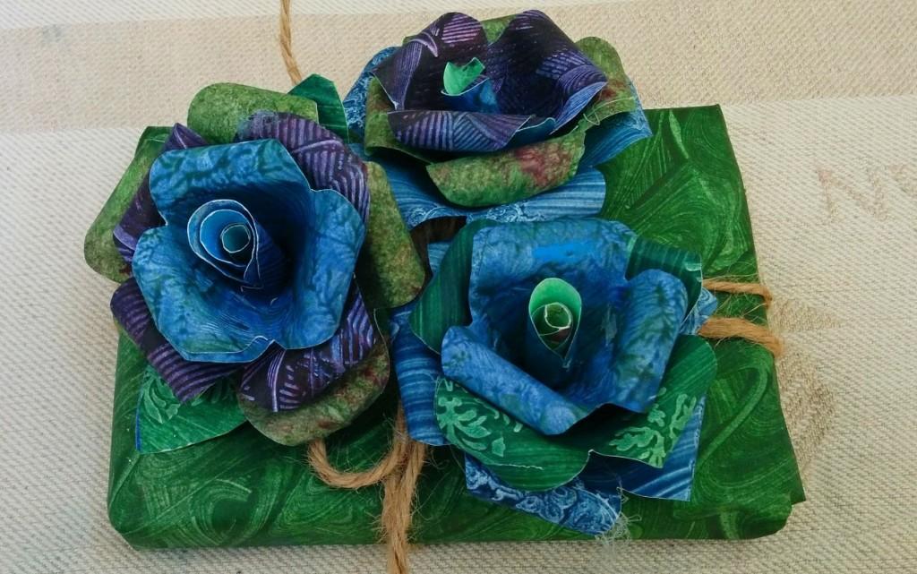 Paste paper sample roses