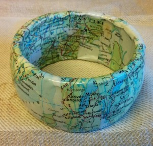 Altered map jewelry