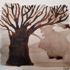 walnut ink tree painting